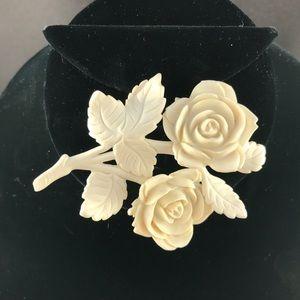Vintage faux ivory plastic rose brooch